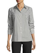 Square-Print Long-Sleeve Poplin Shirt