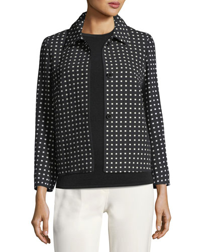 Square-Print Short Jacket