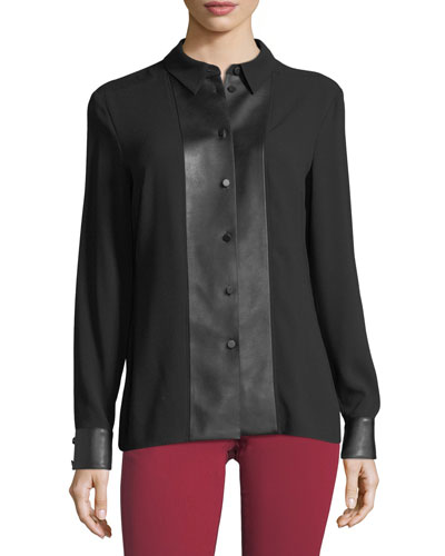 Blouse with Faux Leather Trim