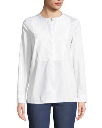 Long-Sleeve Cotton Poplin Tunic with Pique Bib