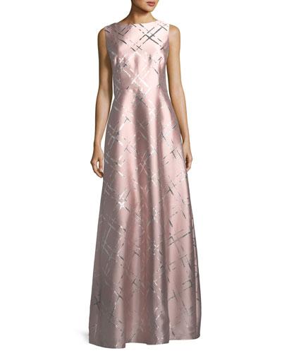 Sleeveless Broken Plaid Jacquard Gown