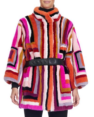 Striped Mink Fur Stroller Coat with Belt