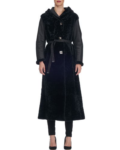 Long Belted Shearling Fur Coat