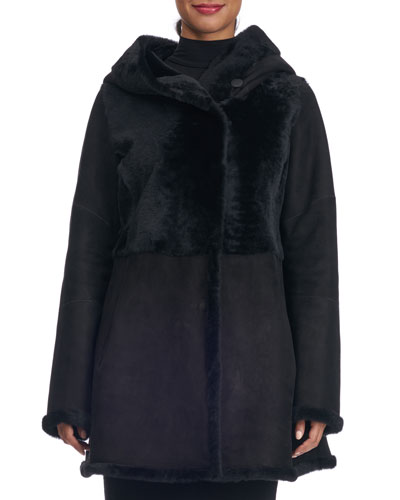 Reversible Hooded Shearling Fur Coat