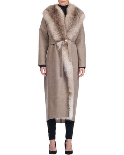 Wool-Blend Wrap Coat with Fox Fur Trim
