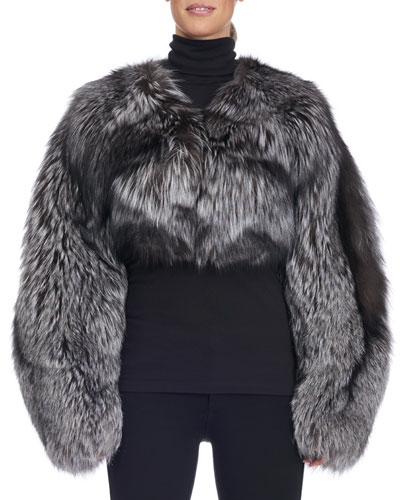 Cropped Collarless Fox Fur Jacket