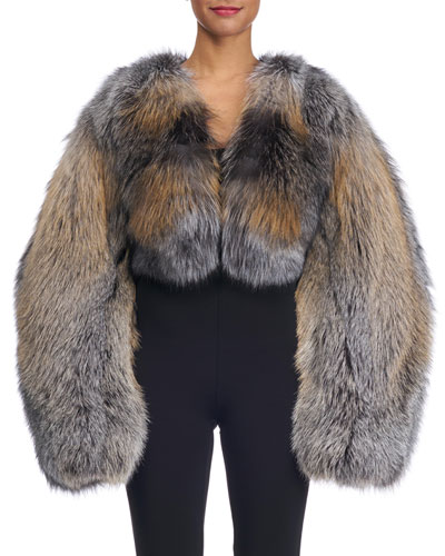 Oversized Fox Fur Bolero Jacket