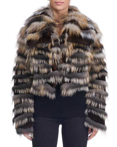 Mink Jacket with Cross Fox Fur