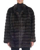 Collarless Seamed Sable Fur Coat