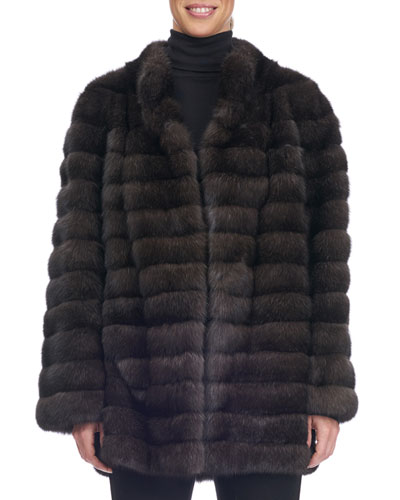 Collarless Seamed Sable Fur Coat