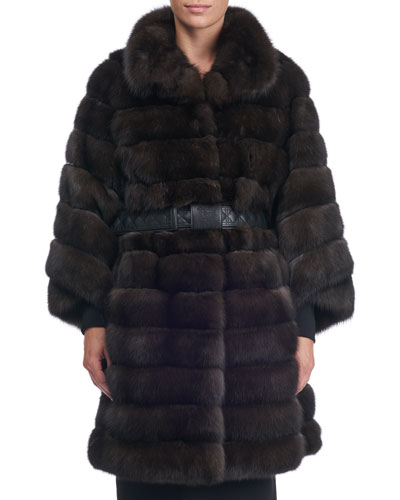 Seamed Sable Fur Stroller Coat with Belt