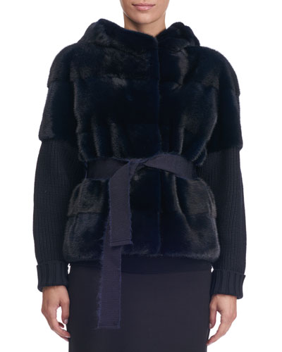 Mink Fur Vest with Knit Sleeves