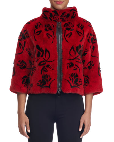 Floral Intarsia Zip-Up Mink Fur Jacket