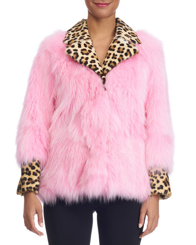 Fox Fur Jacket with Leopard-Print Collar