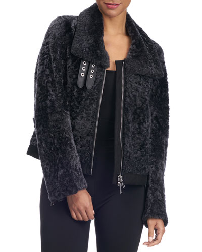 Shearling Fur Zip-Front Jacket
