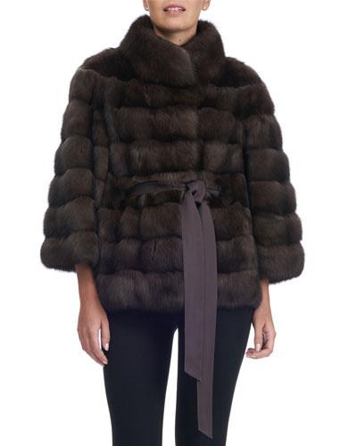Sable Fur Belted Coat