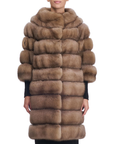 Seamed Sable Fur Coat with Zip-Off Bottom