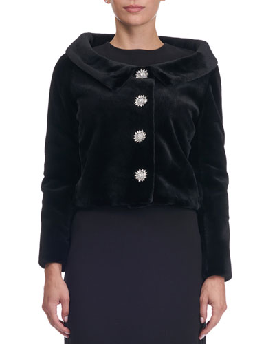 Sheared Mink Fur Button-Front Jacket