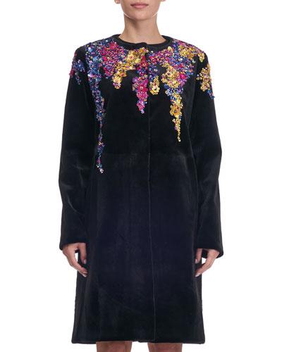 Beaded Collarless Mink Fur Coat