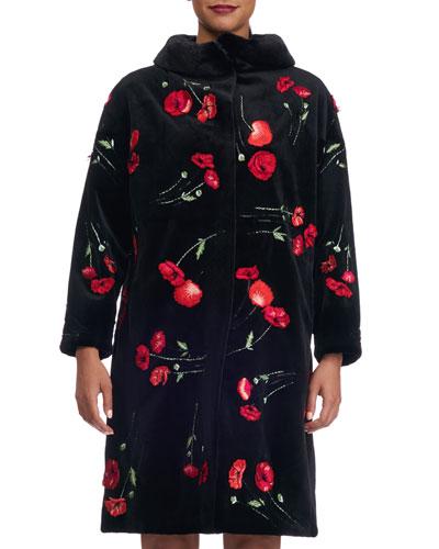 Poppy-Embroidered Mink Fur Stroller Coat