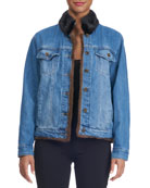 Reversible Denim Jacket with Mink Fur Trim