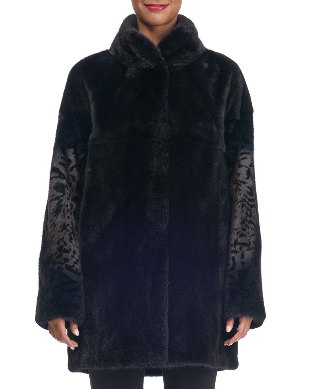 Mink Fur Stroller Coat with Animal Print
