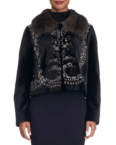 Embroidered Mink Jacket with Sable Collar