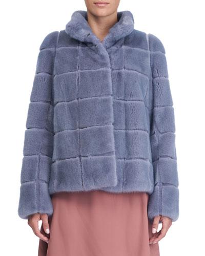 Tiled Mink Fur Jacket