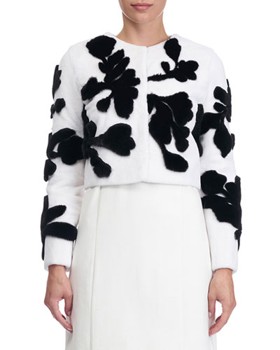 Floral-Intarsia Cropped Sheared Mink Jacket