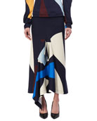 Asymmetric Abstract-Print Midi Skirt