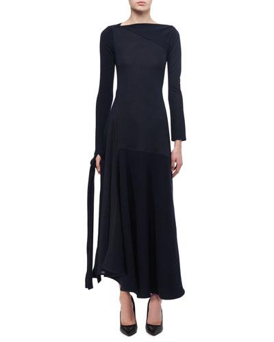 Paneled Tie-Detail Midi Dress
