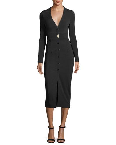 CUSHNIE ET OCHS Cushnie V-Neck Midi Dress - Black