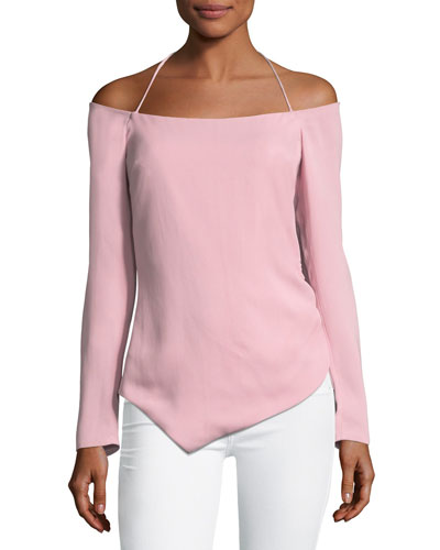 Off-the-Shoulder Halter Stretch-Crepe Top with Drawstring Sides