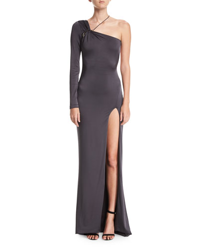 One-Shoulder Gloss Jersey Gown