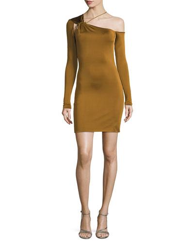 One-Shoulder Gloss Jersey Mini Dress