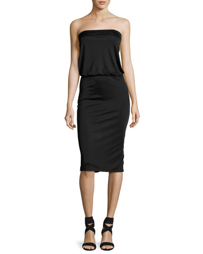 Lauren Strapless Blouson Dress, Black