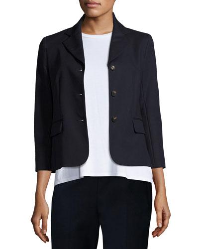 Myram Three-Button Stretch-Satin Jacket