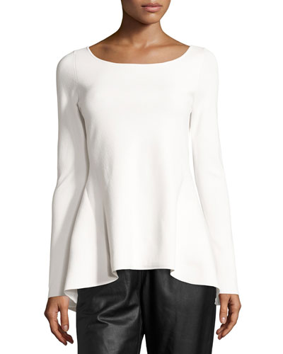 High-Low Peplum Long-Sleeve Top, Off White