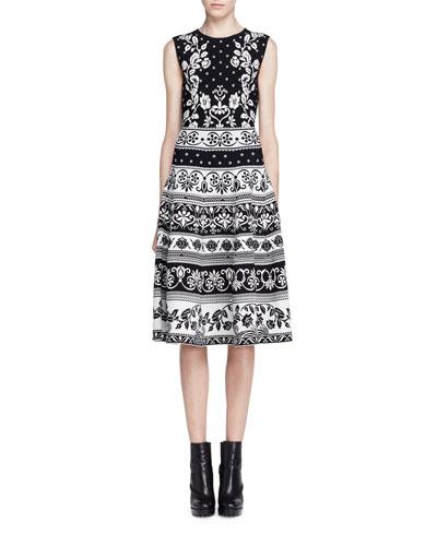 Sleeveless Floral Jacquard Dress, Black/White