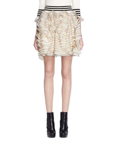 Layered Ruffle Knit Skirt, Ivory