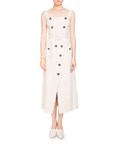 Audrey Pinstripe Apron-Front Belted Midi Dress w/ Button Trim