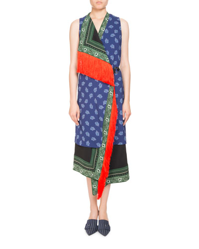 Bina Sleeveless Mixed-Print Faux-Wrap Dress w/ Fringe Trim