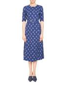 Elena Belted Half-Sleeve Dress