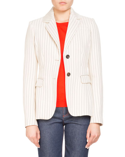 Two-Button Pinstripe Fenice Fitted Blazer