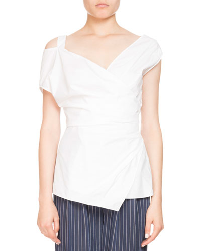 Vona Sleeveless Poplin Wrap Top