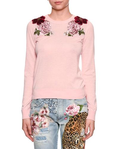 Crewneck Long-Sleeve Cashmere Sweater w/ Rose Applique