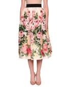 Rose-Print Full Organza Tea-Length Midi Skirt