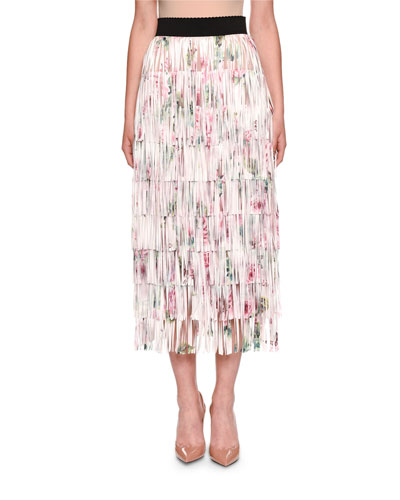 Fringed Rose-Print A-line Tea-Length Skirt
