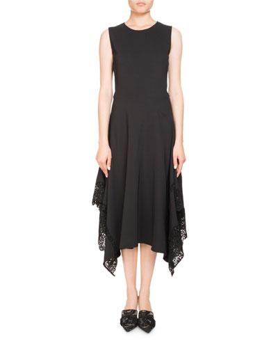 Alana Jewel-Neck Sleeveless A-Line Dress W/ Lace Hem