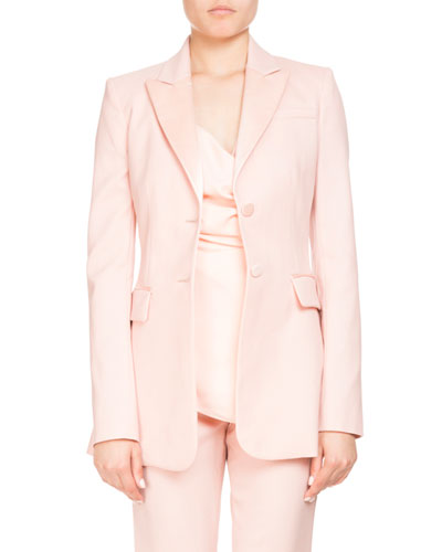 West Two-Button Satin-Trim Wool Tux Blazer